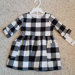 Carter's Black & Cream Plaid Dress NWT